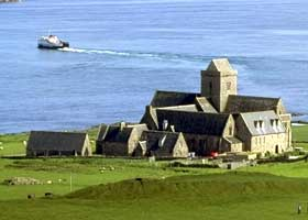 Iona Abbey with Iona Ferry