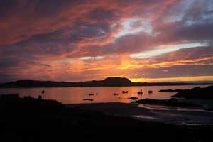 Sunset and Iona from Fionnphort, Isle of Mull